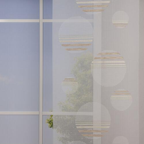 Gardinenstoff Schiebe-Paneele Meterware abstrakte Kreise weiß braun 60cm Breite