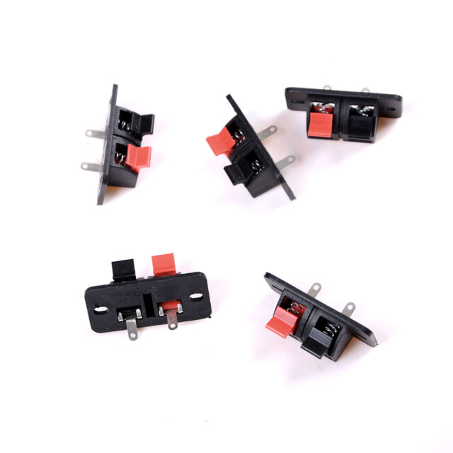 5x 2 Positions Push in Jack Spring Load Audio Speaker Terminals Panel Connector-