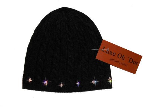LUXE OH `DOR 100/% Cashmere Mütze Cap schwarz silber Zopfmuster Luxus preppy