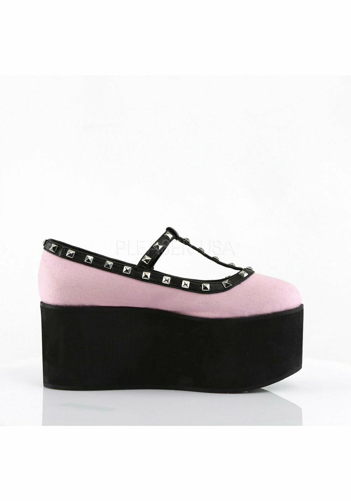 Demonia CLICK-07 3 1 4'' Platform Two Tone T-Strap With Studs And Buckle Detail