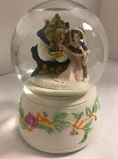 Rotating Disney Schmid Beauty & Beast Belle Winter Birds Scene Snowglobe Music