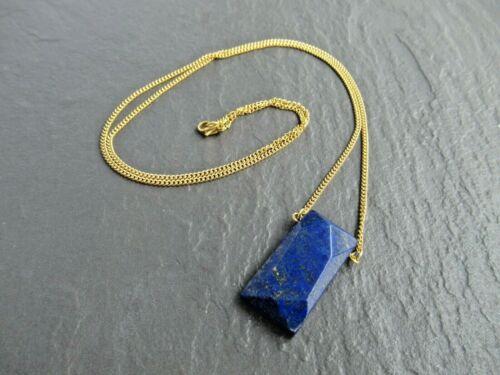 Lapis Lazuli Blue Stone Gold Necklace Pendant Charm Womens Girls Necklaces UK