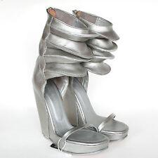 RICK OWENS $1,730 silver leather Rhino wedge heel sandal platform cuff shoes 41
