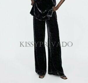 cf28df44c2de ZARA Black Wide Flowy Leg Animal Leopard Print VELVET Trousers M ...