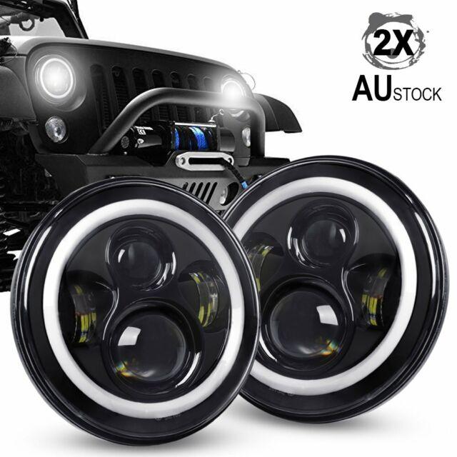 2x 7inch 200W Round LED Headlights HI/LO for Jeep Wrangler TJ JK 97-18 GQ PATROL