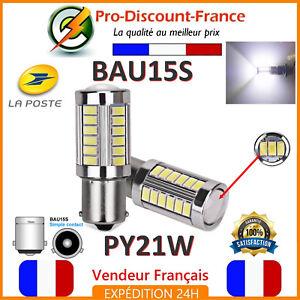 2-x-Ampoule-33-LED-BLANC-BAU15S-PY21W-VOITURE-Feux-de-Jour-SMD-Ampoules