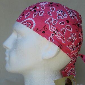 Pink Paisley Ready Tie Bandana Zandanna Do Du Rag Fitted head wrap NEW