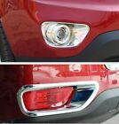2011 2012 2013 JEEP COMPASS FRONT + REAR CHROME FOG LIGHT TRIM RIM LAMP COVER