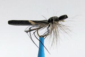 1-x-Mouche-Seche-Criquet-Noir-mousse-H10-12-14-mosca-fly-fliegen-foam-locust