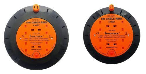 4 Way 5m//10m Câble Extension Reel plomb secteur prise électrique Heavy Duty