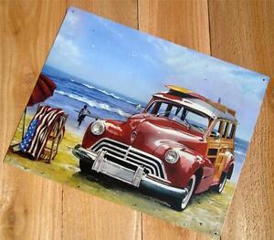 Antique Station Wagon Woody Wood Panel Beach Surf Board Metal Car