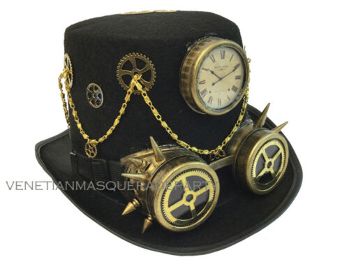 Top Hat Steampunk removable goggle Chain Halloween costume Burning Man Party