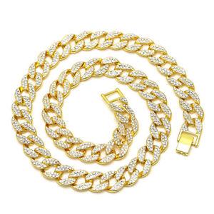 Cool-Mens-Cuban-Link-Necklace-Hip-Hop-Chain-Rhinestone-Rock-Women-Gold