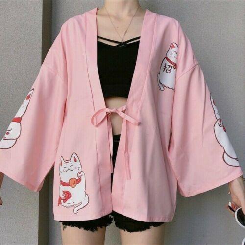 Lady Japanese Kimono Maneki Neko Cardigan Blouse Yukata Jacket Coat Shirt Casual