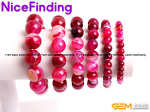 Plum Red Sardonyx Agate Beaded Energy Healing Stretch Bracelets Fashion Jewelry