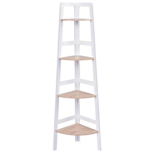 Wooden Ladder Shelf 4 Tier Corner Shelves Bookcase Plant Flower Units UK