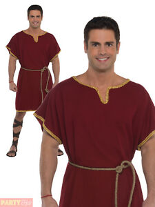 0e92c8fb158 Details about Mens Burgundy Roman Tunic Adult Toga Greek Warrior Gladiator  Fancy Dress Costume