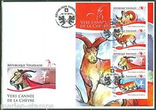 TOGO  2014 LUNAR NEW YEAR OF THE GOAT SHEET FIRST DAY COVER
