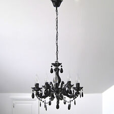BLACK CHANDELIER VINTAGE MARIE THERESE GLASS & CRYSTAL 5 ARM LIGHT LAMP NEW GIFT