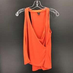 Ann-Taylor-Womens-Faux-Wrap-Tank-Top-Orange-Scoop-Neck-Stretch-Blouse-Petites-SP
