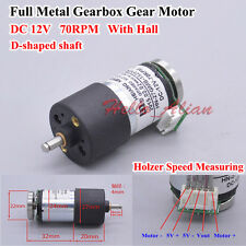 Dc 12v 70rpm Large Torque Full Metal Gearbox Gear Motor D Shaft With Hall Sensor