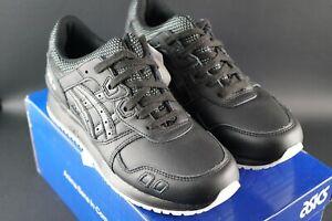 ASICS-GEL-LYTE-dimensioni-III-UK-6-5-EU-40-5-Nero-Pelle-Trainer-Sneaker-Silhouette