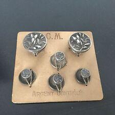 Boutons De Col Manchette Argent Massif 1900 Art Nouveau Silver Cufflinks Button