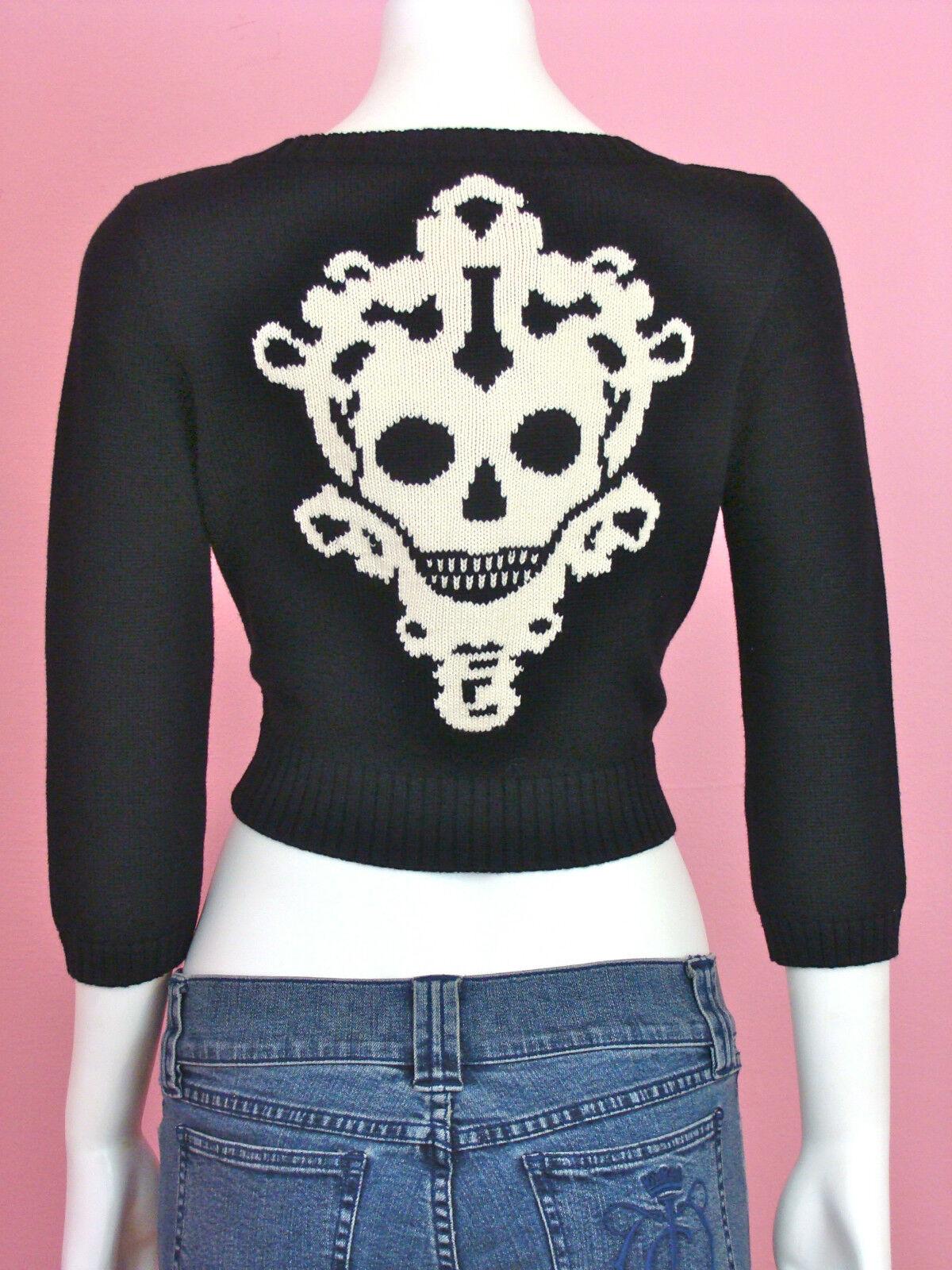 BETSEY JOHNSON Halloween Skeleton Key Cardigan schwarz knit Sweater Skull