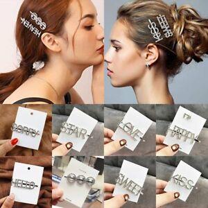 Hair   Hair Gift Smile  Rhinestone  Letter  Women   Clip  Crystal  Hairpin