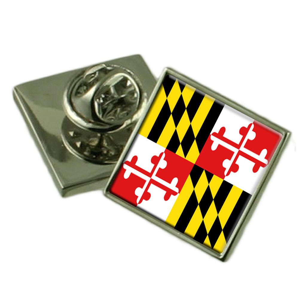 Maryland Spilla da Bavero Bavero Bavero argentoo Sterling 925 Stemma Inciso Personalizzato Box 1e484d