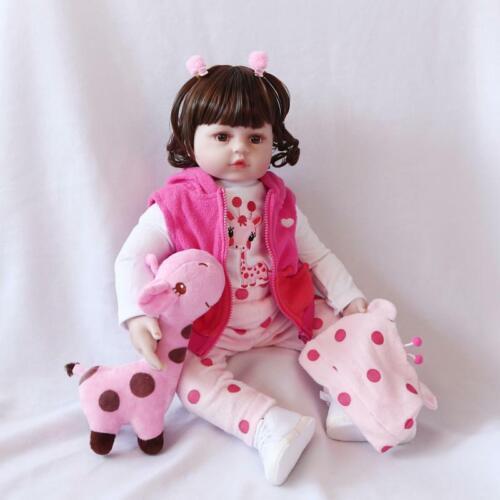 46CM Lifelike Reborn Baby Doll  Vinyl Kids Girl playmate Bambole rinascere