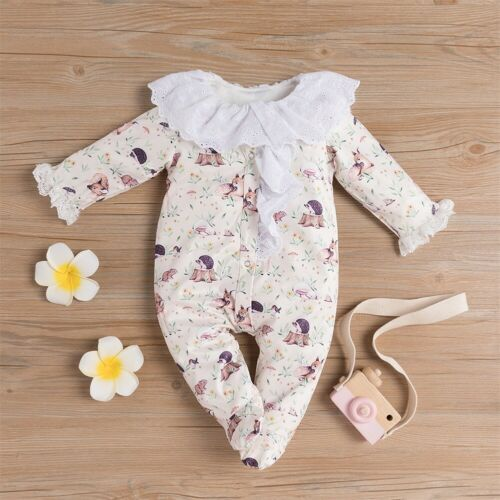 US Newborn Baby Girl Cotton Romper Jumpsuit Pajamas Sleepwear Outfits Clothes