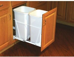 Details About White Double 27 Qt Kitchen Pull Out Waste Recycle Sliding Trash Can Cabinet Bin