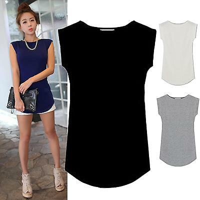 Women Junior Basic Plain Casual Modal Cap Sleeve Slim O-Neck Tee T-Shirt Tops