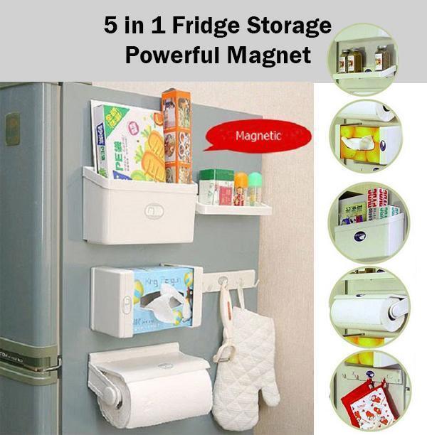 5 en 1 Cuisine Rouleau Support étagère étagère de rangement Crochets Distributeur Frigo Magnétique