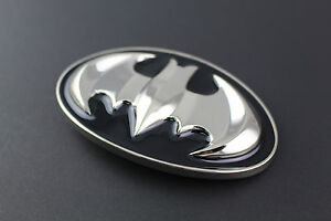 BATMAN BLACK SILVER RETRO METAL BELT BUCKLE DC COMICS MOVIE
