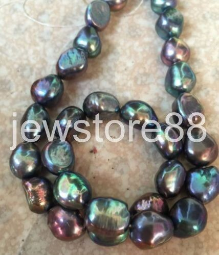 12-13mm tahitian baroque black green multicolor pearl necklace 18inch 925S