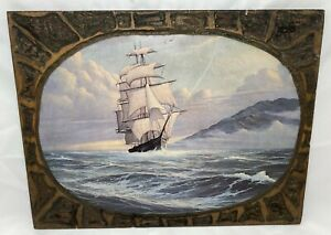 1970-039-s-Carved-Ship-Picture-18-034-L-x-13-75-034-H-Vintage-1-2-034-Plywood-Handmade-Nautical