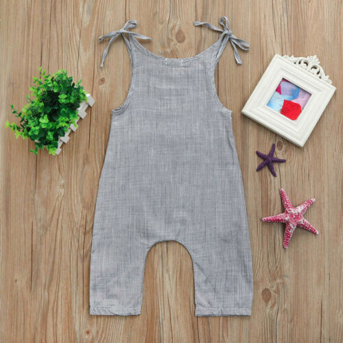 Toddler Infant Baby Boys Girls Flax Sleeveless Braces Romper Jumpsuit Outfits