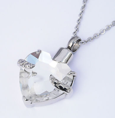 Clear Urn Embrace Ashes Heart Cremation Necklace Jewellery Keepsake HnxXwIqF