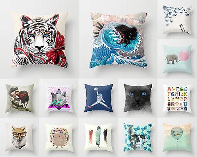 Hedgehog Skull butterfly Elephant 18/'*18/' Home Decor Cushion Pillow Cover Cat