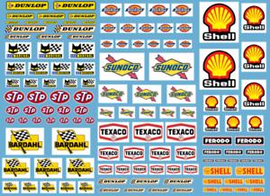 DECALCOMANIE DECALS 1/43 10 sponsors Texaco STP Sunoco Dickies Oil gasoline 1/32