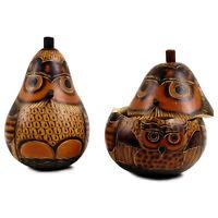 16 Hand Carved Owl Gourd Box Holiday Decor Chest Peru Trunk Coffer Artisan Peru