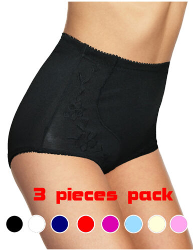 pack of 3 Womens Briefs High Waist  Knickers Embroidered Stretchy UK 10-24 6421
