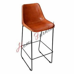 vintage industrial leather bar chair bar stool with back bar stool counter stool ebay. Black Bedroom Furniture Sets. Home Design Ideas