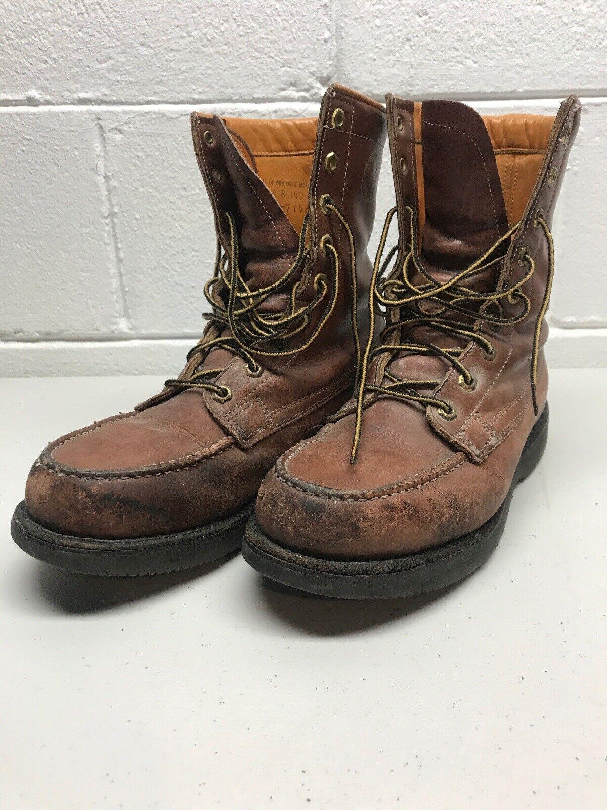 Tamaño 11 Vintage Moc Toe HERMAN SURVIVORS envejecido Aislado botas De Trabajo EE. UU.