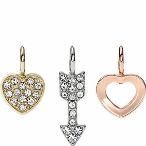 """NEW-FOSSIL SILVER+ROSE GOLD TONE /""""X/"""",/""""O/""""  PAVE,CRYSTAL CHARM,PENDANT-JF01648998"""