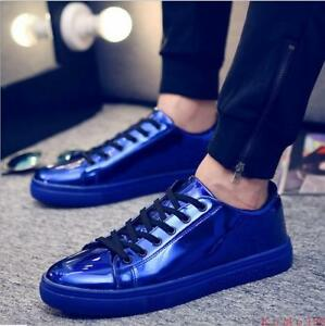 1 mens shiny patent leather lace up round toe sneakers