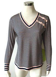 meet 1ad2e 2d673 Details zu Damen Pulli aus Seide V Pullover Streifen rosa marine Gr. 40 42  Räumungsverkauf