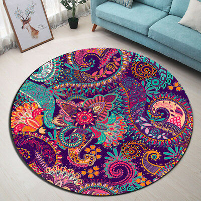 Paisley Pattern Home Round Soft Carpet Room Area Rug Porch Floor Beach Mat